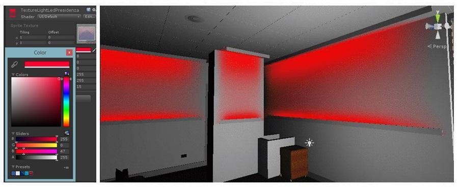 Colorazione pareti virtuale che replica l'illuminazione con stripled